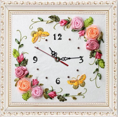 Rose Butterfly Clock Ribbon Embroidery Kit Painting Wall Art Picture DIY  Needlewor Handmade Home Decor Embroidery Circle As Gift