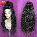 Sintética sensacional Peruca Com o Cabelo Do Bebê Peruca Dianteira do Laço Profundo Cabelo sintético Para As Mulheres Negras Kinky Curly peruca Dianteira Do Laço Sintético peruca