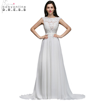 Babyonline White Ivory 2017 Lace Chiffon Beach Wedding Dresses Sexy Backless Boho Sleeveless Bridal Gown Vestido