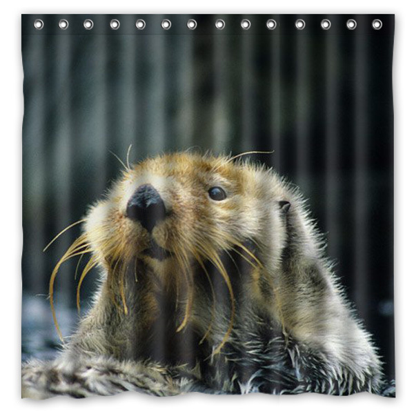 Sea Otter Printing Waterproof Shower Curtain 100 Mildewproof Polyester Fabric Bath Curtains 72x72inch With 12 Hooks