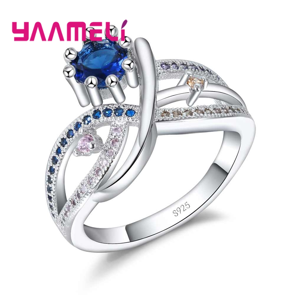 YAAMELI Hollow Cross Design Finger Rings Blue Pink Brown Rhinestonefor Women Wedding Jewelry 925 Sterling Silver Jewelry