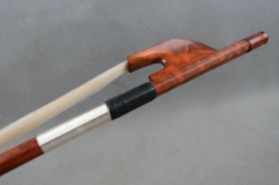 Quality Strong,France style Baroque snakewood 3/4 bass bow,top level white bow hair#6040