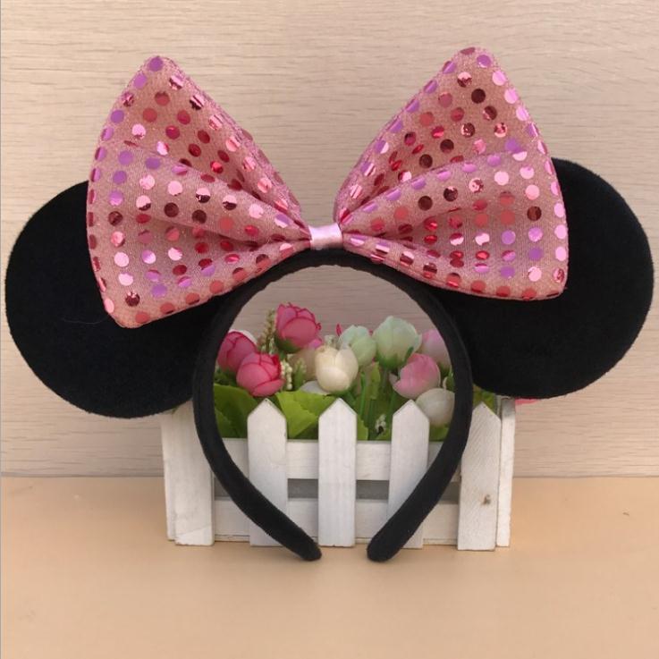 Головной убор Дисней Минни Маус, голова Микки, уши Минни Маус, головная повязка для девочек, обруч принцессы, плюшевые игрушки, косплей, прическа, хлопок, ручная работа