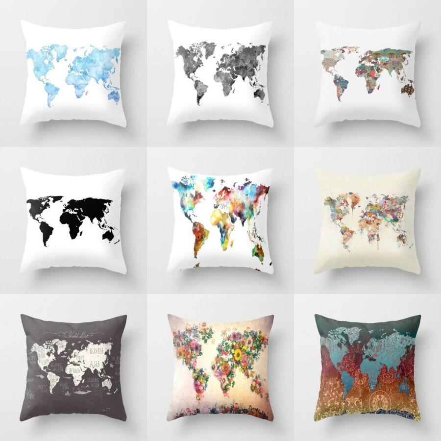 18'' Elife Retro World Map Linen Cotton Baby Cushion Case Polyester Home Decor Bedroom Decorative Sofa Car Throw Pillows 45*45CM