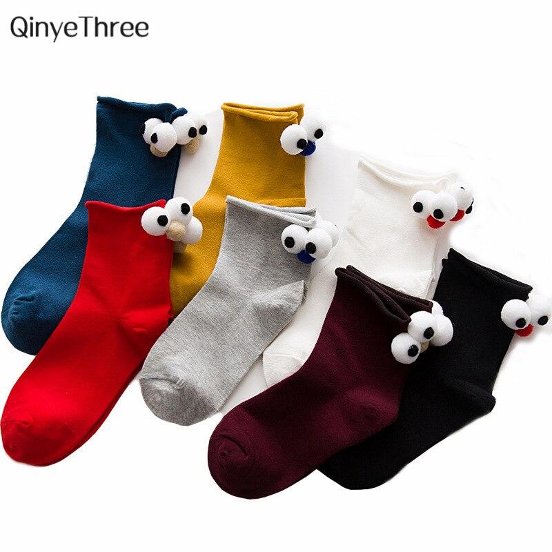 Drop ship Funny women   socks   Heel with 3D Cute big eyes kawaii Soft Winter Summer Sokken Novelty birds sox 2pcs=1pair