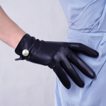Touch Screen Women's Genuine Leather Gloves Female Sheepskin White Pearl Fashion Black Driving Mittens Thin Velvet Lined TB14