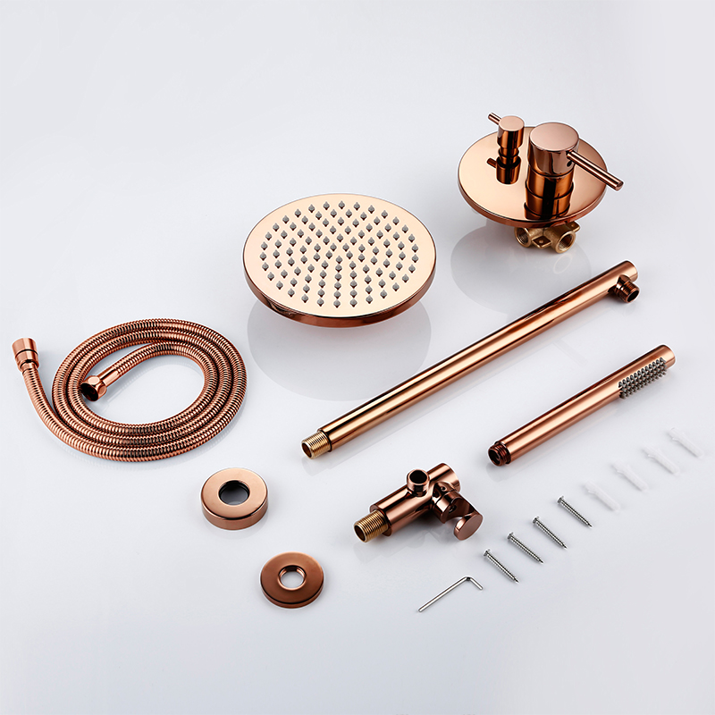 Image 5 - Rose Gold Finish Solid Brass Shower Diverter Valve Faucet Set With 8 12 Inch Round Shower Head Bathroom Wall Shower KitShower Faucets   -