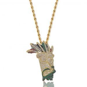 Image 3 - Ожерелье с подвеской Iced Out UKA, Мужская/Женская микро подвеска в стиле хип хоп золотого/серебряного цвета, блестящие брелоки, украшения, подарки