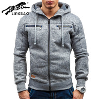 2016 Plain Mens Coat Zip Up Hoody Jacket Sweatshirt Hooded Zipper Top Overcoat