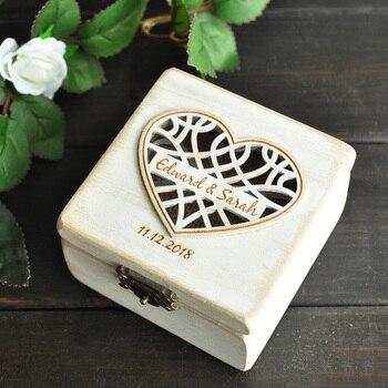 אישית חתונה טבעת תיבת טבעת בעל נושא תיבת אירוסין חתונת טבעת כרית B
