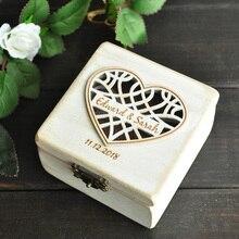 Personalized Wedding Ring Box Ring Holder Bearer Box Engagement Wedding Ring Pillow B
