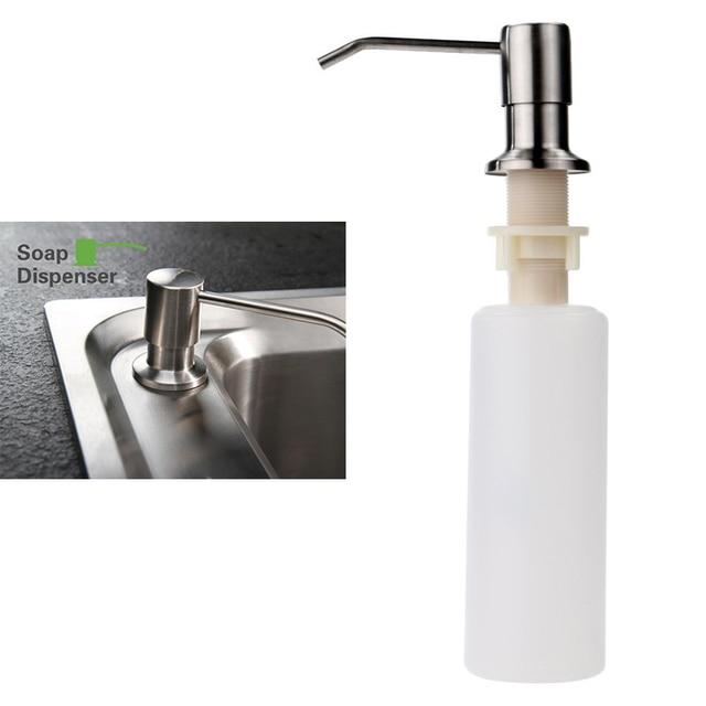 1pcs Kitchen Sink Soap Dispenser Stainless Steel Head + ABS Bottle ...