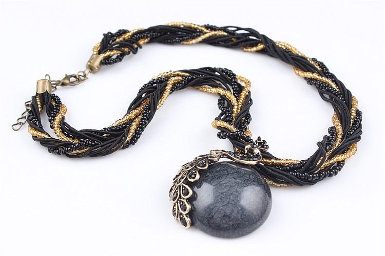 ZOSHI Blue natural crystal stone pendant necklace fashion peacock pendant necklace for women jewelry 27