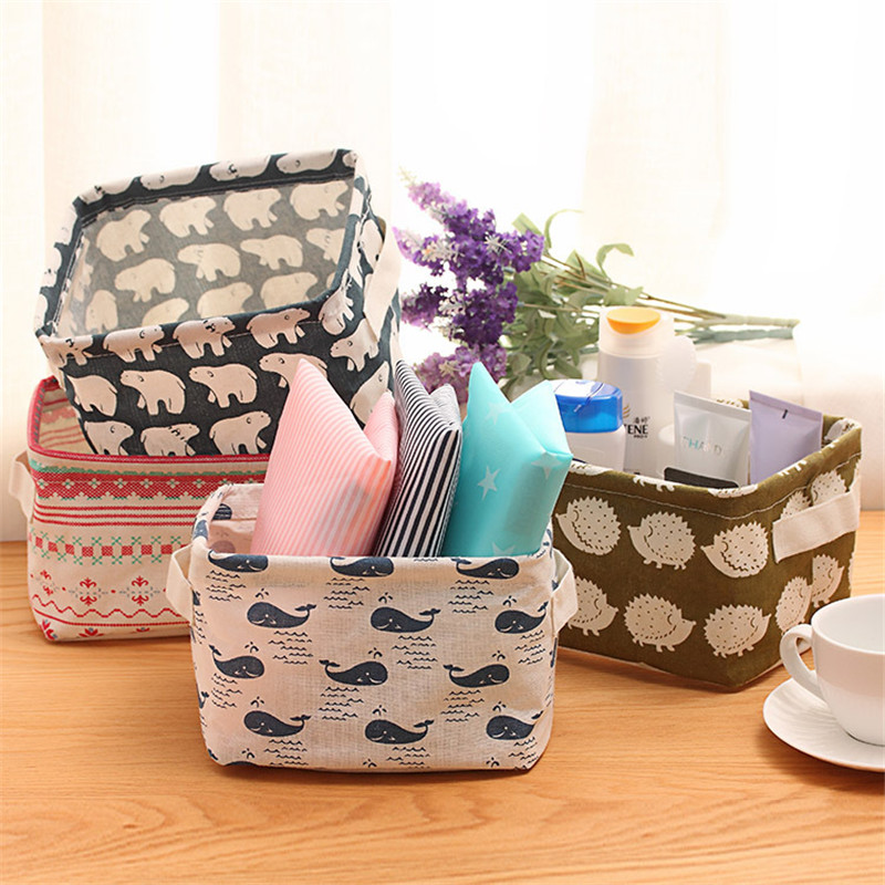 Storage Basket DIY Office Desktop Organize Folding Linen Toy Storage Box Pastoral Floral Animal Jewelry Makeup Organizer Baskets