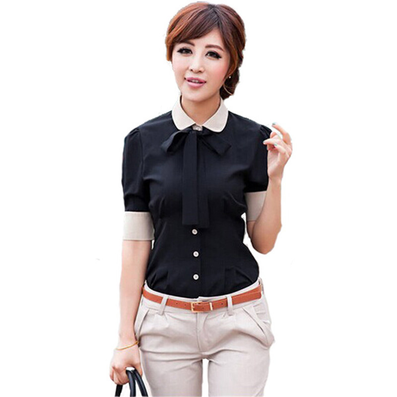 2015 Patchwork Women Office Shirts With Bow Tie Tops Short