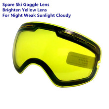 Benice Brand Ski Goggles Night Brightening Lens Weak Light Cloudy Weather Brighten Yellow Spare Lens Night