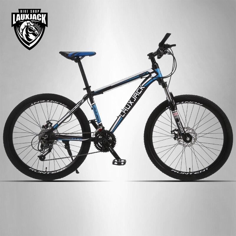 LAUXJACK Mountain bike telaio in alluminio 24/27 velocità Shimano freni a disco meccanici 26