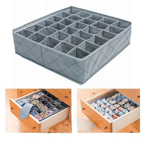 Image 5 - Organizer Portable 30 Grid Foldable Storage Box For Home Gadget Non woven Storage Bra Underwear Socks Finishing Box Organizador