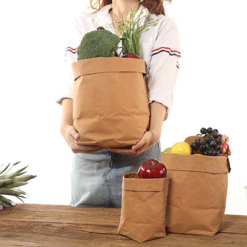 Kraft Paper Storage Bags of Fruit and Vegetable Garlic Onion Plant Flower Pot Bag Basket Home Garden Storage Organization New