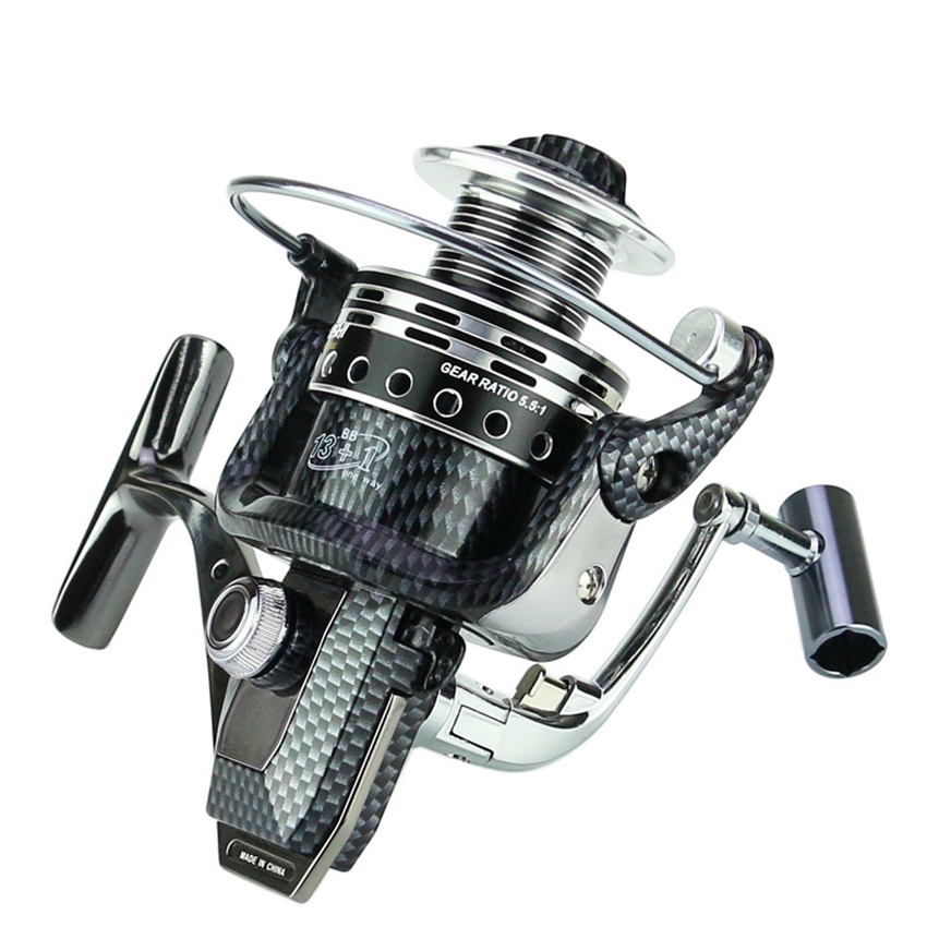 13+1 BB Spinning Fishing Reel G-ratio 5.5:1 Casting Surfcasting Fish Reel With Large Spool Fishing Wheel Fishing Tackle Pesca fish tackle closed face spinning fishing reel with line