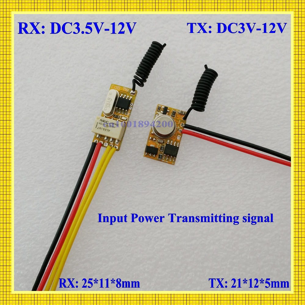 DC3.5V-DC12V Mini Relay Receiver DC3V-DC12V Transmitter PCB Power ON Transmitting 3.7V 4.5V 5V 6V 7.4V 9V 12V Wireless TX RX Mod
