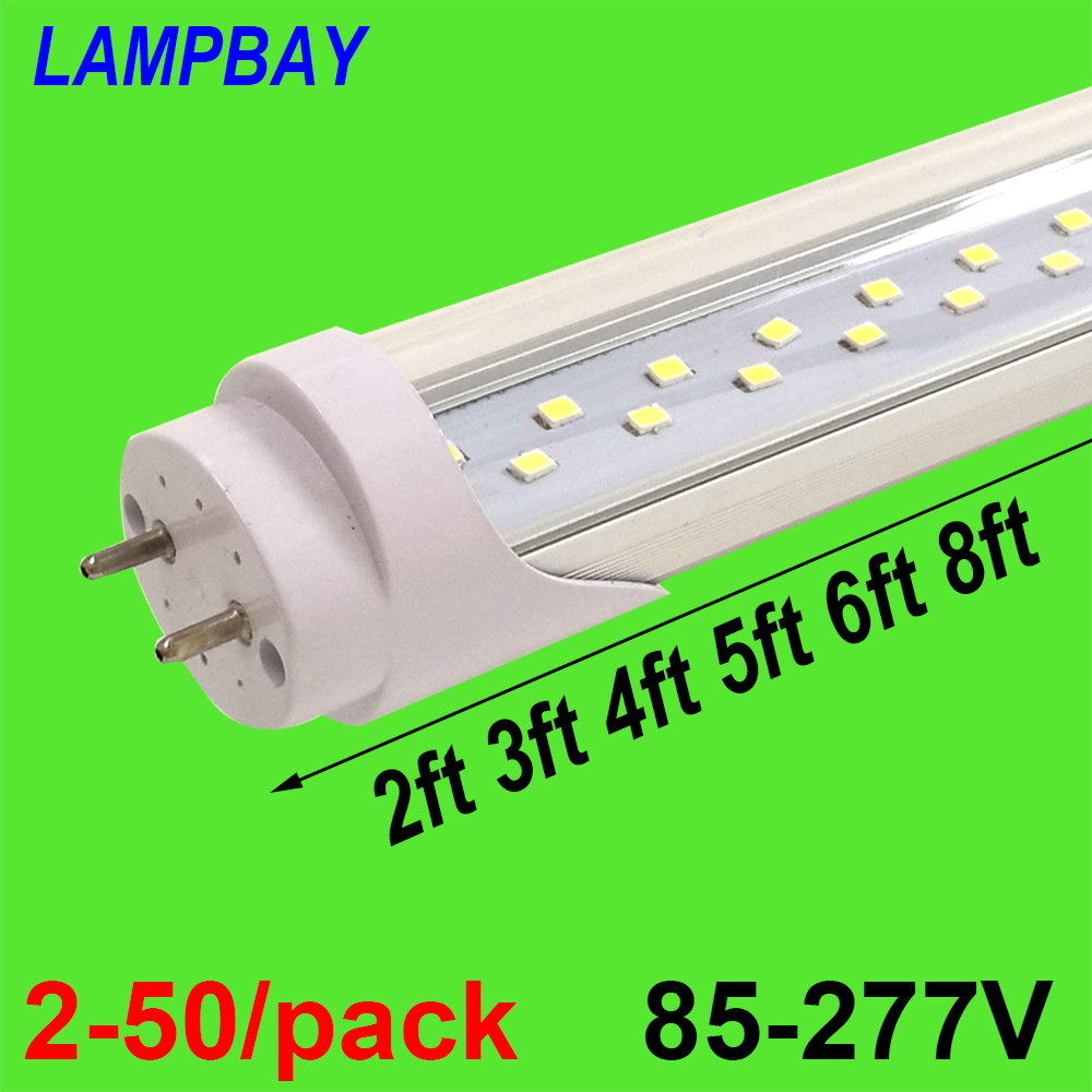 2-50/pack Double Row LED Tube Lights 2ft 3ft 4ft 5ft 6ft T8 G13 Fluorescent Retrofit Bulb Super Bright Lamp 48