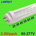 2-50/pacote dupla fileira luzes de tubo led 2ft 3ft 4ft 5ft 6ft t8 g13 fluorescente retrofit lâmpada brilhante super 48