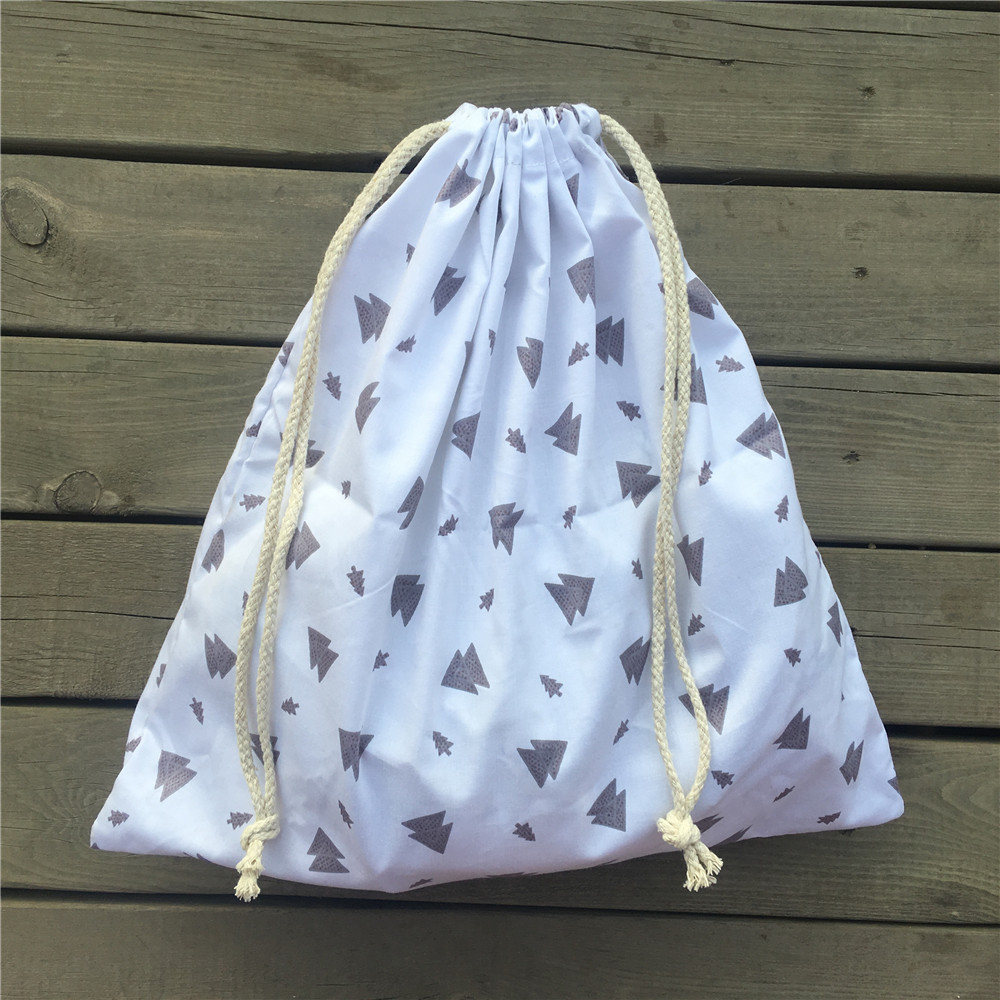 1pc Cotton Twill Drawstring Travel Organized Sorted Bag Party Gift Bag Gray Tree White Base YL9504