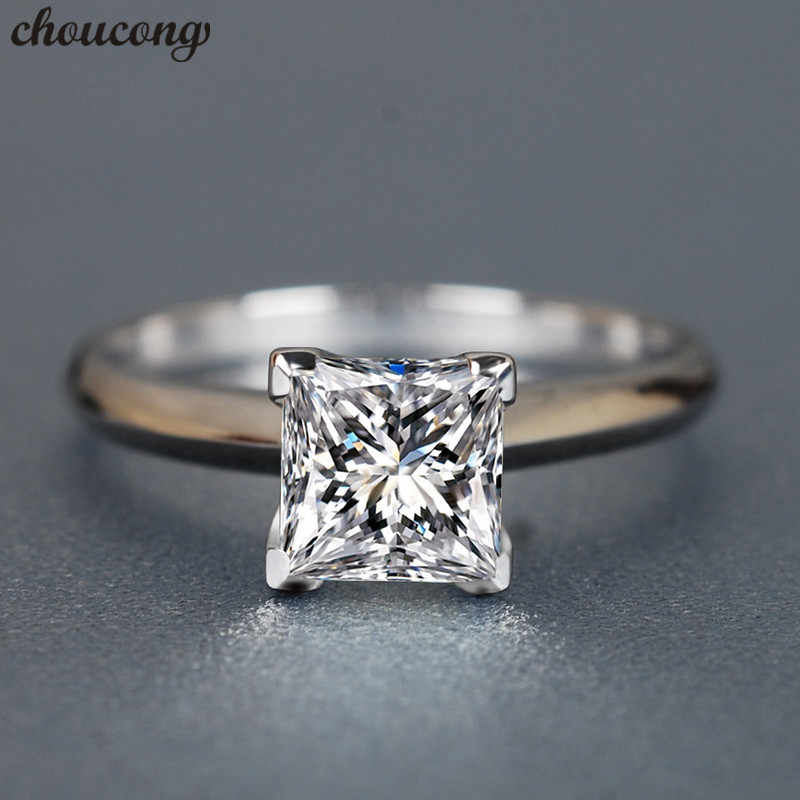 choucong Classic 100% Real 925 sterling Silver ring Princess cut 1ct AAAAA Zircon Engagement Wedding Band Rings For Women men
