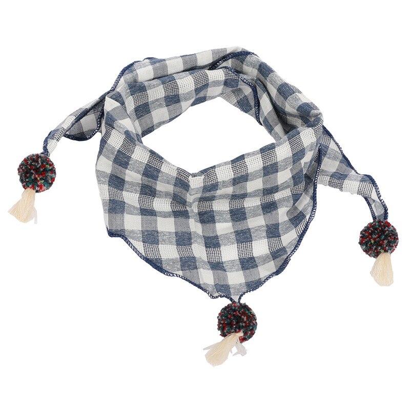 Весенние клетчатые треугольные шарфы в горошек для маленьких девочек; осенне-зимняя шаль для мальчиков и девочек; Детские хлопковые воротники; теплый детский шейный платок - Цвет: blue grid