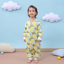 6 layers baby rompers baby Sleeping Bag Muslin Bamboo Cotton toddle Sleep Sack Cute Cartoon Sleeves Sleep Bag Anti Kick Quilt недорого