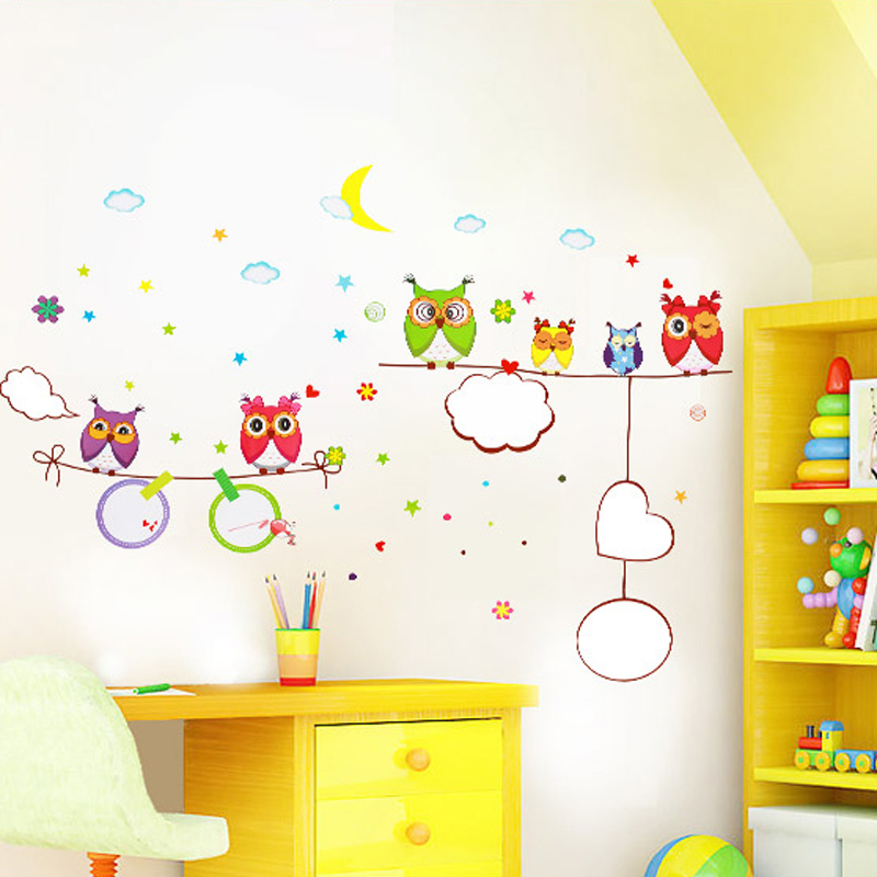 1pcs Cartoon Owl Whiteboard Kids Writing Wall Sticker