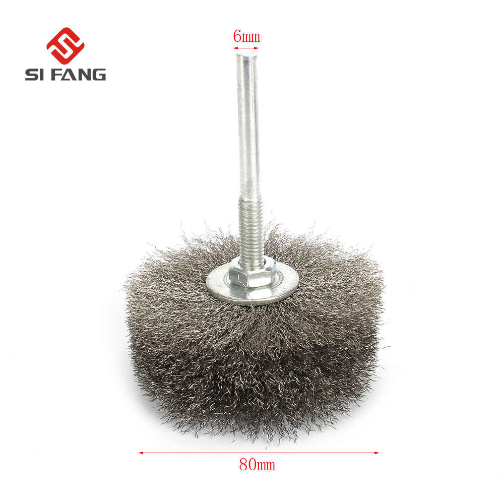 Crimped Stainless Steel Flat Wire Brush Drill Attachment with 6mm Round Shank Polishing Wheel for Removal of Rust Paint Corrosion and Polishing Metal 38-75mm Dia,Pack of 4