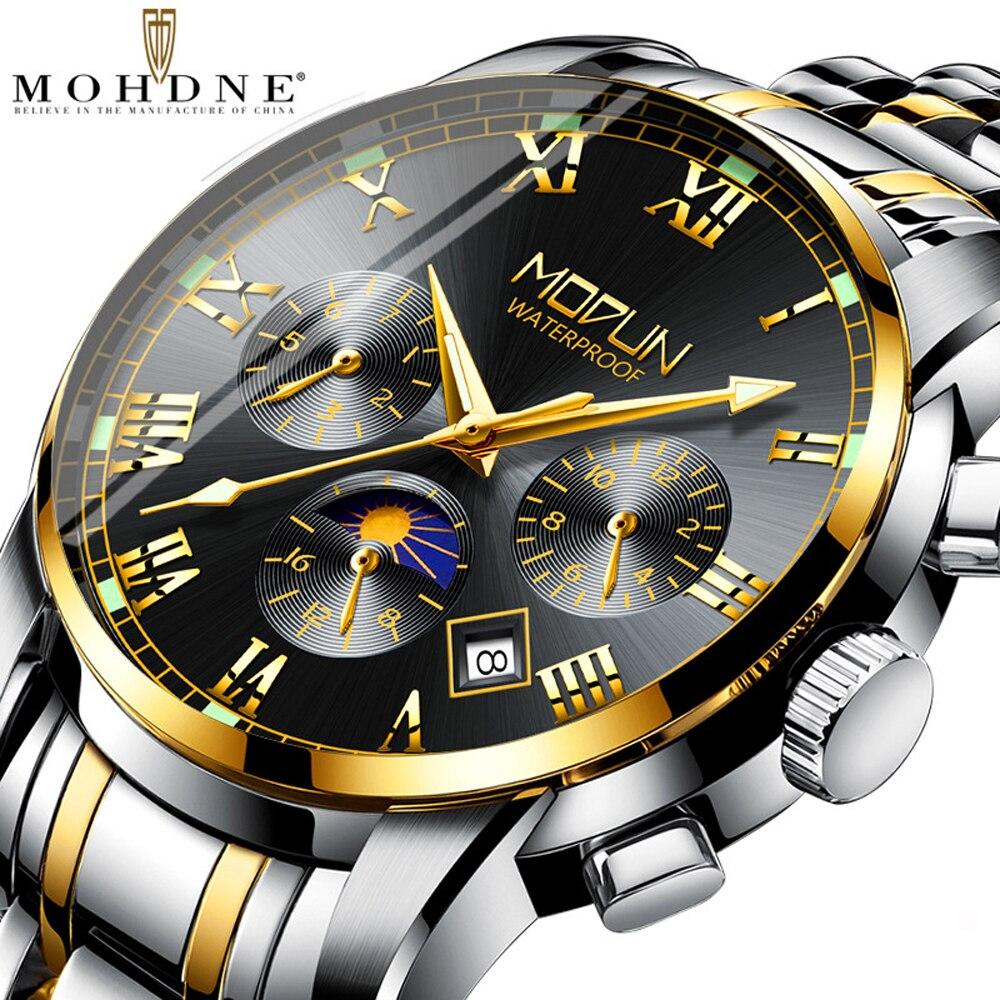 MOHDNE marque qualité montre pour hommes trois yeux Six aiguille multifonctionnel montre-bracelet auto remontage automatique mécanique montre hommes