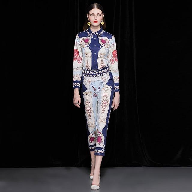 Truevoker Autumn Designer Set Suit Women s High Quality Full Sleeve  Abstract Geometric Printed Beading Blouse + Pant Suit fb18c446b9c6