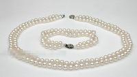 charm Jew.657 7mm aaa grade white akoya pearl jewelry set double strand necklace bracelet (A0423) Bride jewelry free shippi