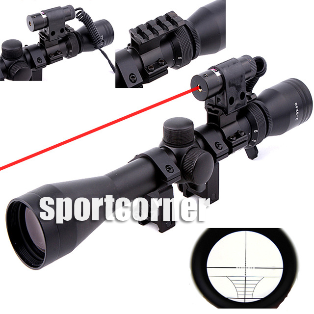 Optical Sight 3-9X40 Riflescope Hunting Optics Y0038 25.4mm Scope Mount Red Laser Sight ship from us new 3 9x40 illuminated rifles scope with red laser