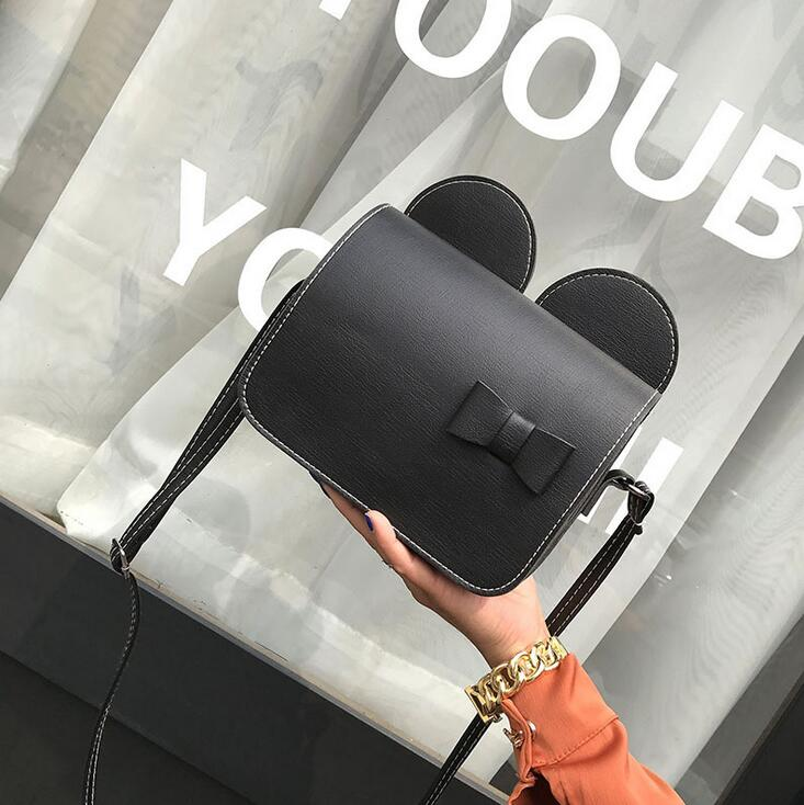 96e599d3b9 Summer 2017 Fashion New Handbags High quality PU leather Women bag Sweet  lady Mickey big ears Bow Shoulder bag Simple Phone bag-in Shoulder Bags  from ...