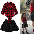 2Pcs Kids Baby Girls Plaid Tops Shirt + Leather Skirt Dress Outfit Clothes Set