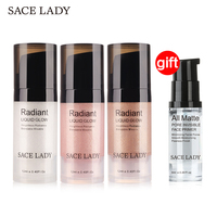 Buy 3 Get 1 Gift SACE LADY Face Highlighter Cream Illuminator Makeup Facial Brighten Glow Kit