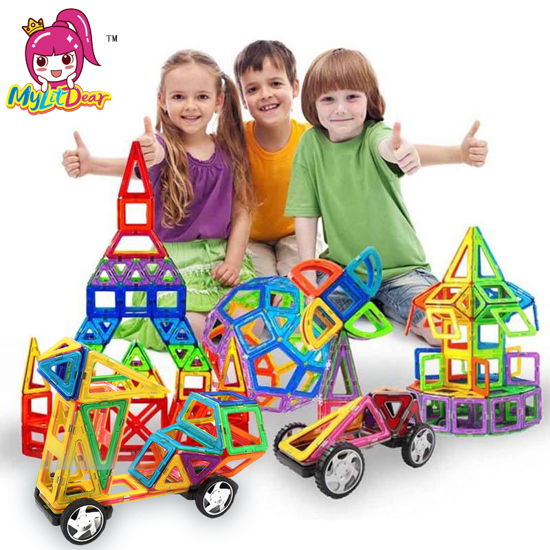 MylitDear Storlek Magnetic Designer 34Pcs Building Blocks 3D Konstruktion Toy Barn Baby Educational Creative Bricks Leksaker