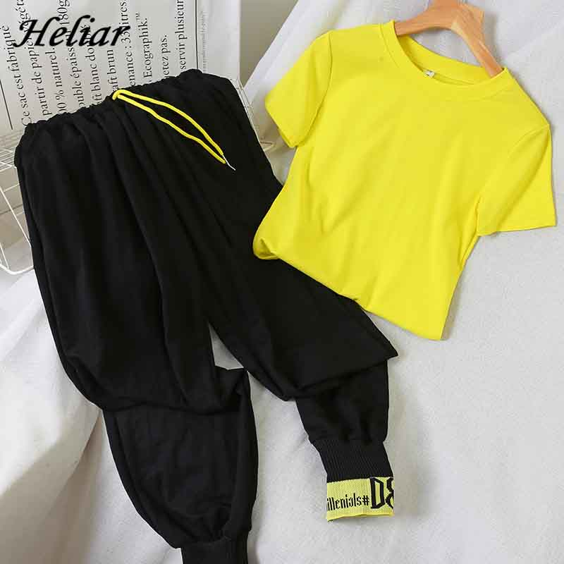 Heliar Yellow O-Neck Short Sleeve T-Shirt And Trousers Women Sets Pants Sets Femme Two Pieces Outfits 2019 Summer Suits Women