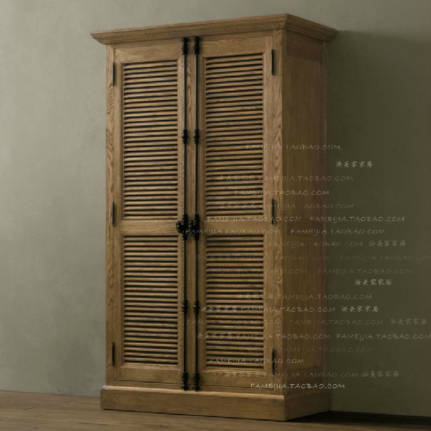 American Rural Style Solid Wood Furniture Shutter Double Door Lock Of Heaven And Earth Creative Oak Cabinets Wardrobe