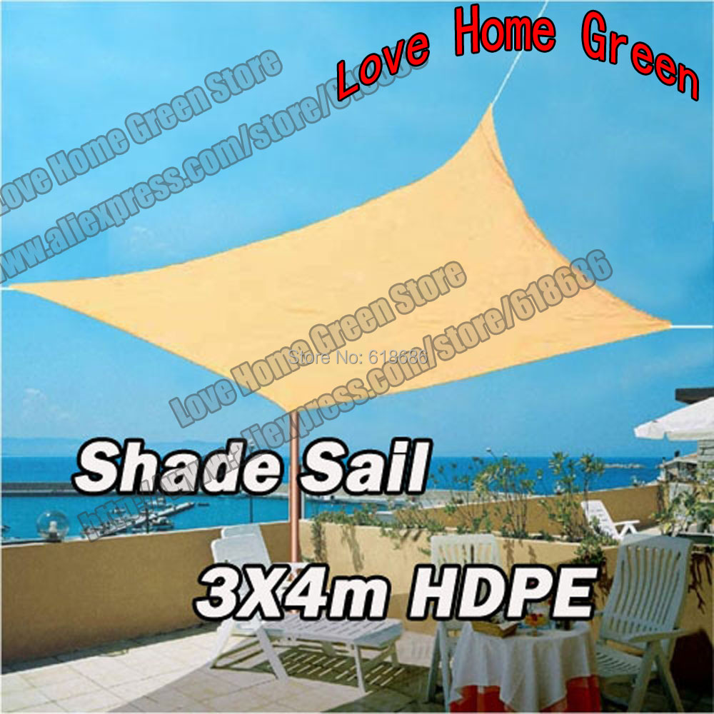 HDPE Rectangle Sun Shade Sail Combination Square Shade Net Garden HDPE Awning  Canopy 3X4M(China