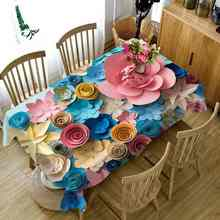 Party Home Kitchen Tablecloth Creative Flower Blossom Picture 3D Print Thicken Rectangular Round Table Cloth