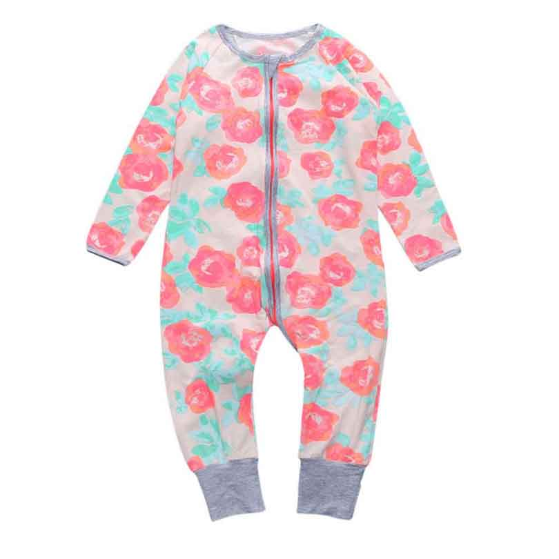 0-24M Autumn spring Fleece Baby Rompers Cute Pink Baby Girl Boy Clothing Infant Baby Girls Clothes Jumpsuits Footed Coveral