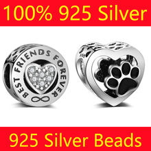 100% S925 Sterling Silver Star Love Heart Vnistar Wholesale Mom Animal Paw Sister Friend DIY 925 Silver European Bead Charms(China)