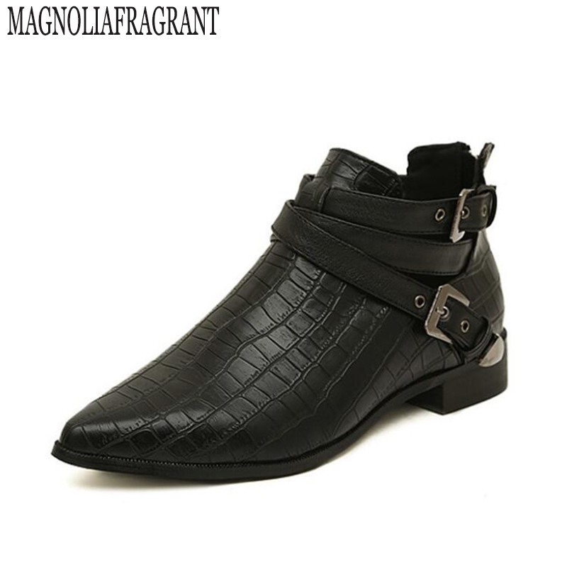 Autumn& Spring Fashion PU Leather Women Boots 2017 Pointed Toe Crocodile Stripe Ankle Boots Buckle Woman Shoes z291 стоимость