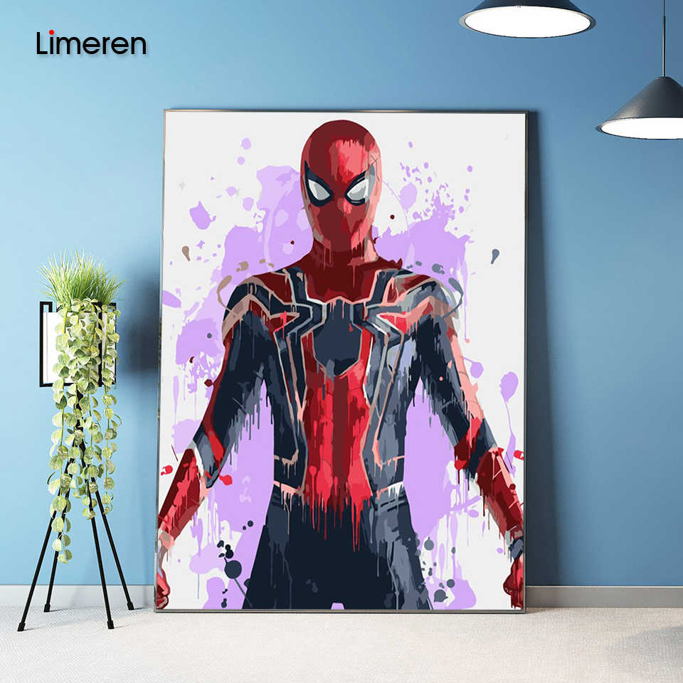 DIY Wall Pictures Acrylic Oil Coloring Painting By Numbers On Canvas For Unique Gift Home Decor The Avengers Movie Spideman