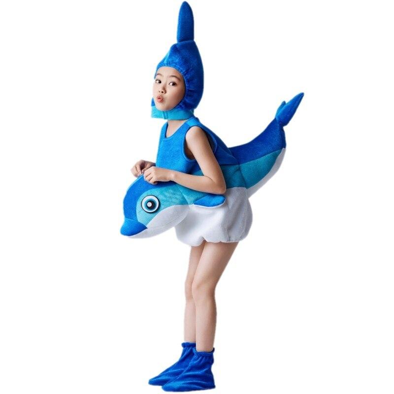 Costume de Cosplay animal pour enfants et Perforance dauphin, carpe, requin, étoile de mer, crabe, homard et corail
